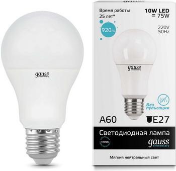 цена Лампа GAUSS LED Elementary A60 10W E27 920lm 4100K 23220 Упаковка 10шт онлайн в 2017 году