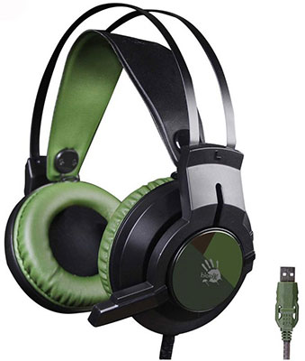 Аудио гарнитура игровая проводная A4Tech Bloody J450 черный/зеленый