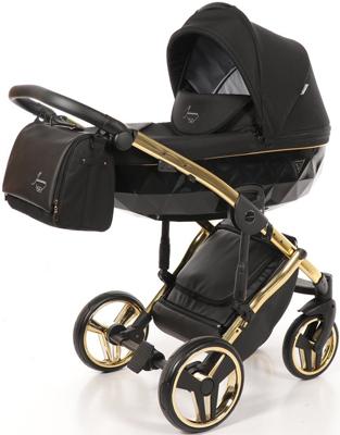 коляски 2 в 1 Коляска детская 2 в 1 Junama DIAMOND SPECIAL JDS-02 (черный/черный короб/рама золото)