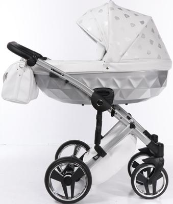 коляски 2 в 1 Коляска детская 2 в 1 Junama GLOW JGL-03 (белая кожа/серебро)