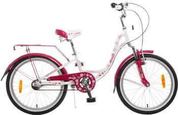 Велосипед Novatrack 20'' BUTTERFLY белый-бордовый алюм. Shimano NEXUS 3 скорости пер. торм. V-brake #098617