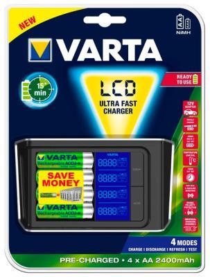 цена на Зарядное устройство VARTA LCD Fast Charger+4x 2400 mAh+12 V (57675101441)