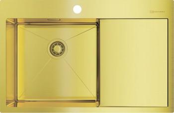 Фото - Кухонная мойка Omoikiri AKISAME 78-LG-L светлое золото (4973085) врезная кухонная мойка 46 см omoikiri akisame 46 lg 4973081 светлое золото