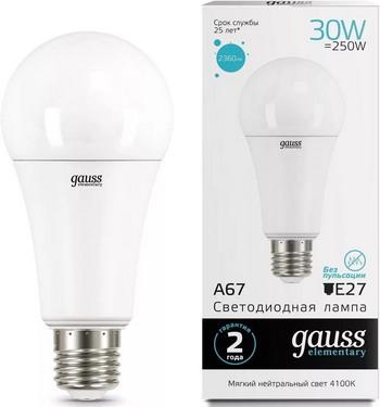 Лампа GAUSS LED Elementary A 67 30 W E 27 4100 K 73229