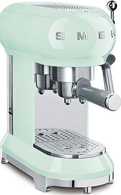 Кофеварка Smeg ECF01PGEU пастельный зеленый тостер на 4 ломтика smeg пастельный голубой tsf03pbeu