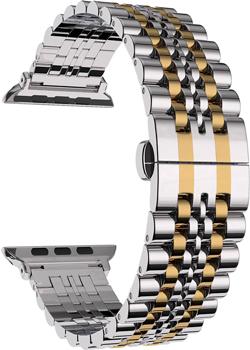 Ремешок для часов Lyambda из нержавеющей стали для Apple Watch 42/44 mm CASTOR DS-APG-04-44-SG Silver/Gold ремешок для часов lyambda для apple watch 42 44 mm libertas ds apg 06 44 bk black
