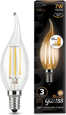 gauss лампа светодиодная gauss led filament candle e14 7w 2700к 1 10 50 103801107 Лампа GAUSS LED Filament Свеча на ветру E14 7W 550lm 2700K step dimmable 1/10/50 104801107-S