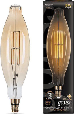 Лампа GAUSS LED Vintage Filament BT120 8W E27 120*420mm Amber 780lm 2400K