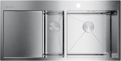 Кухонная мойка Omoikiri Akisame 100-2-IN-R нерж.сталь/нержавеющая сталь (4973547) кухонная мойка omoikiri sagami 79 2 in нержавеющая сталь 4993733