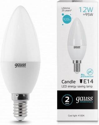 Лампа GAUSS, LED Elementary Свеча 12 W E 14 4100 K 33122, Китай  - купить со скидкой