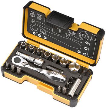 Набор бит и головок Felo с трещоткой в кейсе 18 шт 05771856 набор бит felo 35 шт в кейсе серия industrial 02073516