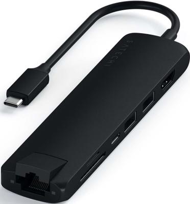 Фото - USB-C адаптер Satechi Type-C Slim Multiport with Ethernet Adapter черный (ST-UCSMA3K) кабель satechi flexible micro to usb 15 см черный