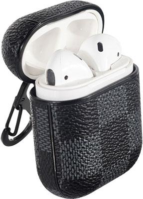 Чехол для наушников Eva Apple AirPods 1/2 с карабином - Серый/Чёрный (CBAP14GB)