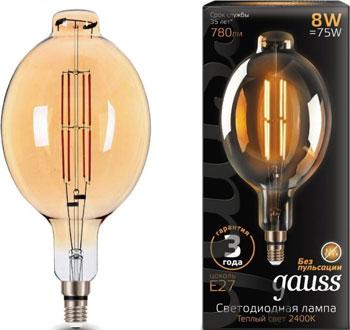 Лампа GAUSS LED Vintage Filament BT180 8W E27 180*360mm Amber 780lm 2400K