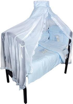 Комплект постельного белья Золотой Гусь Сабина 7 предметов 100% хлопок (голубой) постельный сет 7 предметов золотой гусь степашка зеленый