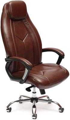 Кресло Tetchair BOSS люкс (хром) (кож/зам коричневый/коричневый перфорированный 2 TONE/2 TONE /06) недорого