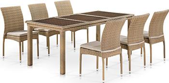 Комплект мебели Афина T365/Y380B-W65 6PCS Light Brown