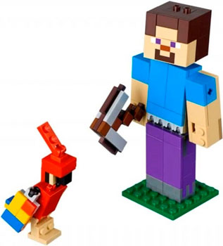 Конструктор Lego Большие фигурки Minecraft Стив с попугаем 21148