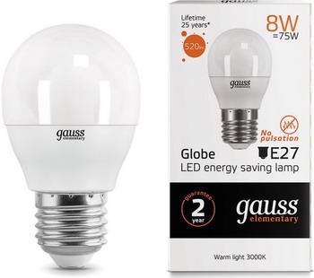 Лампа GAUSS LED Elementary Шар 8W E27 520lm 3000K 53218 Упаковка 10шт лампа gauss led шар e27 6 5w 520lm 3000k 105102107 упаковка 10шт