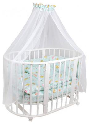Комплект в круглую кроватку Idea Kids Зонтики 20 пр. простынь на резинке поплин 100% хлопок Мята