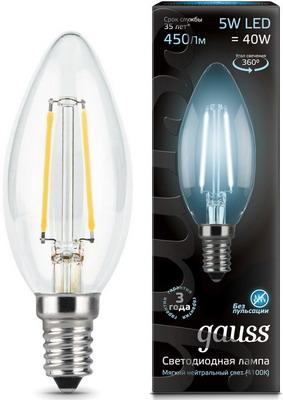 Лампа GAUSS LED Filament Свеча E14 5W 450lm 4100К 103801205 Упаковка 10шт лампочка экономка свеча e14 5w 160 260v 450lm 2700k ecoledfl5wcne1427
