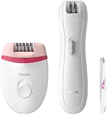 Набор: эпилятор, мини-эпилятор и пинцет Philips BRP506/00  белый  красный