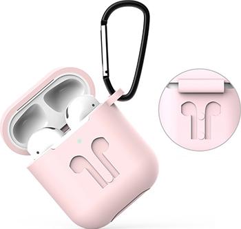 Фото - Чехол Eva для наушников Apple AirPods 1/2 с карабином - Розовый (CBAP01P) браслет розовый кварц 17 см биж сплав