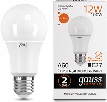 Лампа GAUSS LED Elementary A60 12W E27 1130lm 3000K  упаковка 10шт