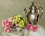 Картина по номерам Сильвертойз (40х50) БУЗИН. НАТЮРМОРТ С ВИНОГРАДОМ (28 цветов) на подрамнике KH0409