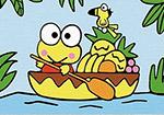Картина по номерам Цветной ''Лягушка в лодке'' (10х15) на подрамнике  pa057